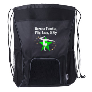 BORN TO TUMBLE, LEAP, FLIP AND FLY GYMNAST DRAWSTRING BACKPACK
