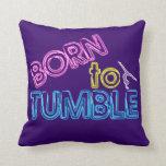 Born to Tumble Neon Gymnastics Throw Pillow (purp)