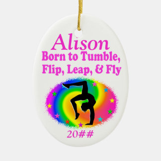 BORN TO TUMBLE PERSONALIZED GYMNAST ORNAMENT