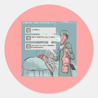 Born To Tweet Funny Cartoon Classic Round Sticker