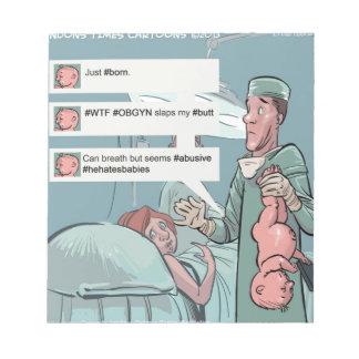 Born To Tweet Funny Cartoon Notepad