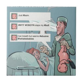 Born To Tweet Funny Cartoon Tile