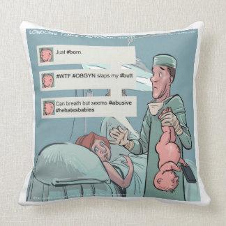 Born To Tweet Funny Large Cotton Throw Pillow Pillow