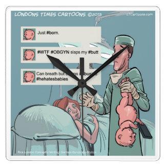Born To Tweet Funny Square Wall Clock Clocks