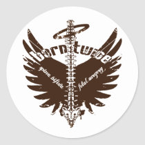 Born Twice Spina Bifida Fetal Surgery Angel Wings Classic Round Sticker