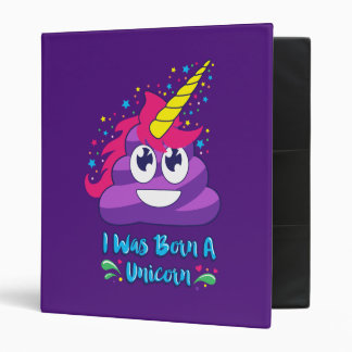 Born Unicorn Emoji Poop 3 Ring Binder