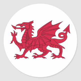 Born Welsh Poem with Dragon Classic Round Sticker