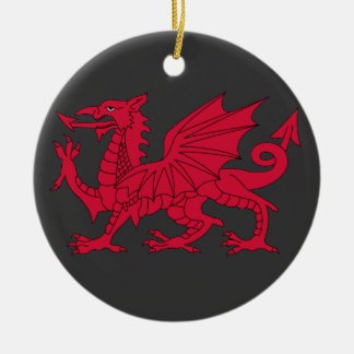Born Welsh Poem with Dragon Double-Sided Ceramic Round Christmas Ornament