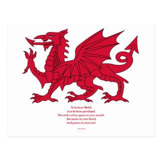 Born Welsh Poem with Dragon Postcard