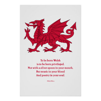 Born Welsh Poem with Dragon Poster