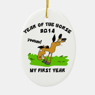 Born Year of The Horse 2014 Baby Ceramic Ornament