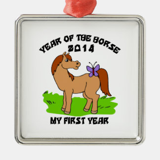 Born Year of The Horse 2014 Baby Metal Ornament