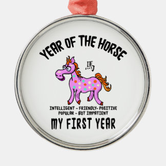 Born Year of The Horse Baby Metal Ornament