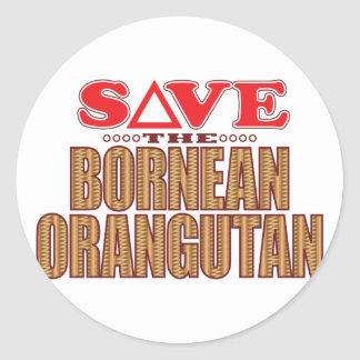 Bornean Orangutan Save Classic Round Sticker