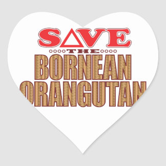 Bornean Orangutan Save Heart Sticker