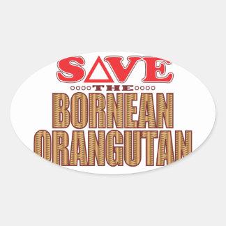 Bornean Orangutan Save Oval Sticker