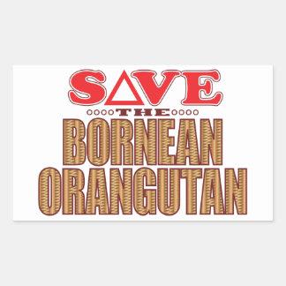 Bornean Orangutan Save Rectangular Sticker