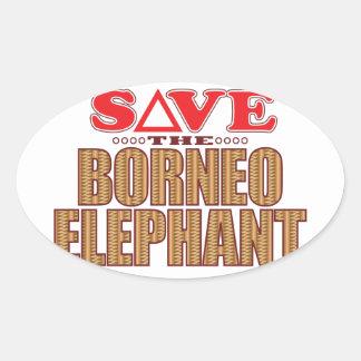 Borneo Elephant Save Oval Sticker