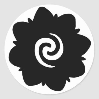 borneo flower classic round sticker