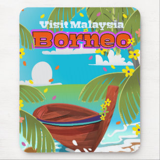 Borneo Island holiday travel poster. Mouse Pad