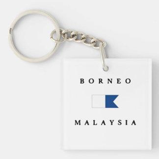 Borneo Malaysia Alpha Dive Flag Double-Sided Square Acrylic Keychain