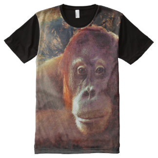 Borneo Orangutan & Jungle Primate Wildlife Art All-Over Print T-shirt