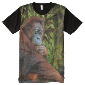 Borneo Orangutan & Jungle Primate Wildlife Photo All-Over Print T-shirt