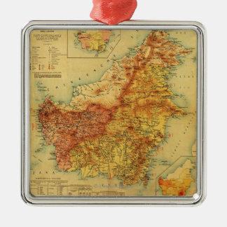 BorneoPanoramic MapBorneo Metal Ornament