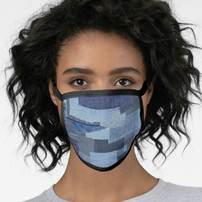 Boro Boro Blue Jean Patchwork Denim Shibori Face Mask Zazzle Com
