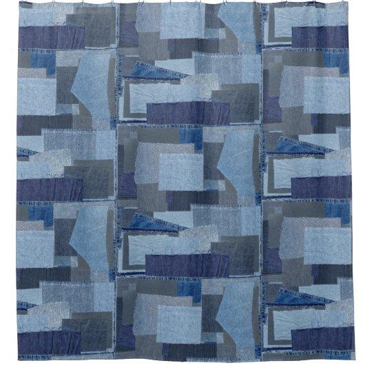 Boro Blue Jean Patchwork Denim Shibori Shower Curtain