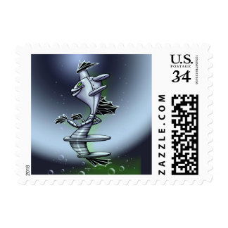 "BORO SURFY ROBOT POSTAGE STAMP Small 1.8"" x 1.3"""