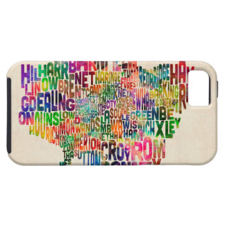Boroughs of London Typography Text Map iPhone 5 Case