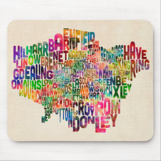 Boroughs of London Typography Text Map Mouse Pad