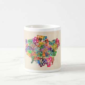 Boroughs of London Typography Text Map Mugs