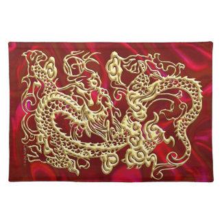 Borrachín rojo Placemat del satén del dragón del o Mantel Individual