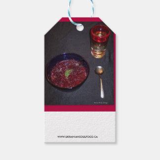 Borshch y vodka ucranianos de la comida del alma etiquetas para regalos