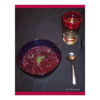 Borshch y vodka ucranianos de la comida del alma plantilla de membrete