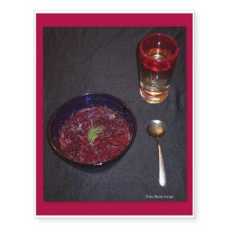 Borshch y vodka ucranianos de la comida del alma tatuajes temporales