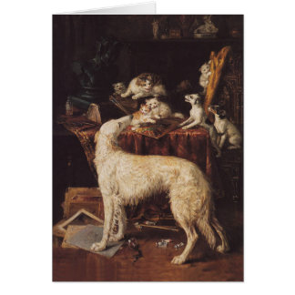 Borzoi And Cats Card