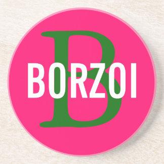 Borzoi Breed Monogram Design Sandstone Coaster