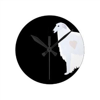 Borzoi Breed Template Design Round Clock