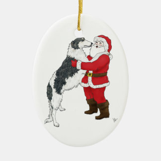 Borzoi Christmas Greeting Ceramic Ornament