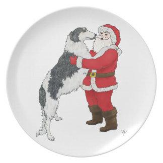 Borzoi Christmas Greeting Plate