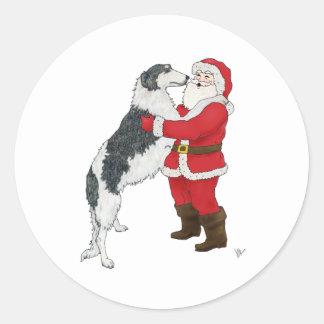 Borzoi Christmas Greeting Stickers