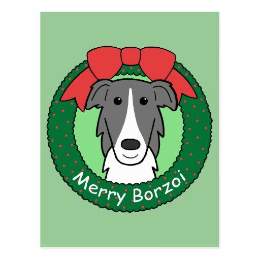 Borzoi Christmas Postcard