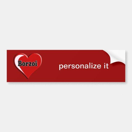 Borzoi Dog on Heart for dog lovers Car Bumper Sticker