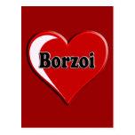 Borzoi Dog on Heart for dog lovers Postcard