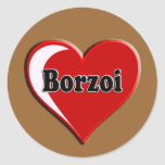Borzoi Dog on Heart for dog lovers Sticker