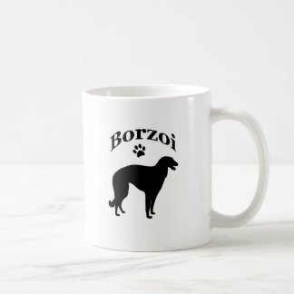 borzoi dog pawprint mug, gift idea coffee mug