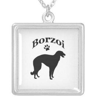 borzoi dog pawprint silhouette necklace, gift square pendant necklace